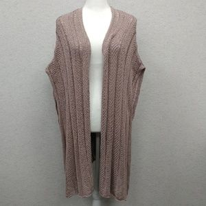 American Eagle Rose Pink Sleeveless Duster Sweater